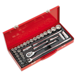 Sealey Socket Set 32pc 1/2Sq Drive 6pt WallDrive® - Metric & Imperial