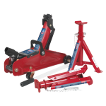 Sealey Trolley Jack 2tonne Short Chassis with Axle Stands (Pair) 1tonne Capacity per Stand & Storage Case