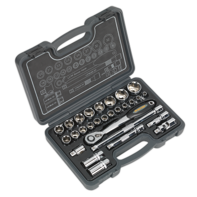 Sealey Socket Set 28pc 1/2Sq Drive 6pt WallDrive® Metric